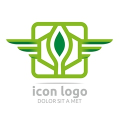 Logo icon hexagon winged green design symbol vector