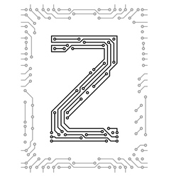 Alphabet of printed circuit boards vector