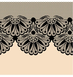 Black flower lace border on beige background vector