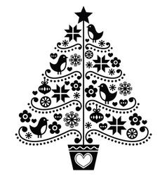 Christmas tree design - folk style with birds vector