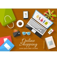 Online shopping concept desktop with computer vector