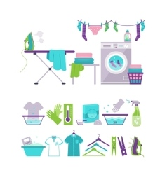 Colored washing and laundry icons in flat style vector