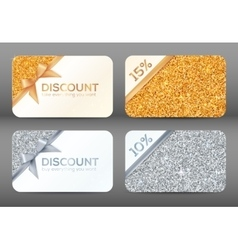 Set of golden and silver glitter white discount vector