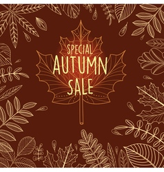 Autumn sale poster with outline leaves vector