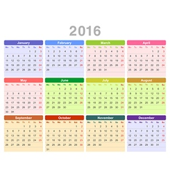 2016 year annual calendar vector