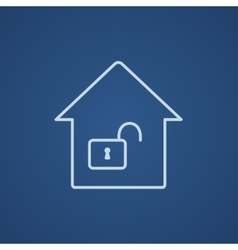 House with open lock line icon vector