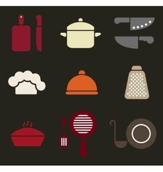 Colorful retro minimal kitchen cookware icon set vector