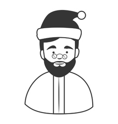Old man santa claus hat icon vector