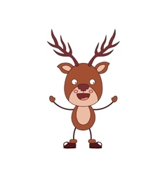 Funny christmas reindeer character isolated icon vector