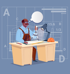 cartoon african american builder sitting at desk vector image vector image