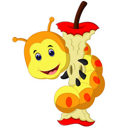 Caterpillar eating apple cartoon vector