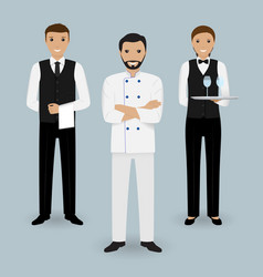 chef cook and two waiters in uniform standing vector image vector image