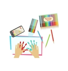 Child painting with palms only hands vector