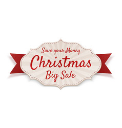 christmas big sale tag isolated on white vector image vector image