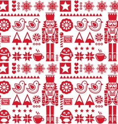 Christmas seamless red pattern with nutcracker vector image vector image