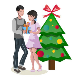 couple celebrating christmas with gift vector image