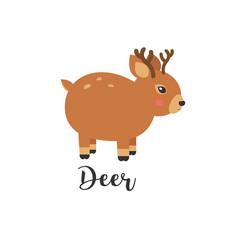 Cute baby deer cartoon vector
