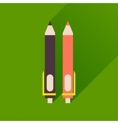 Flat icon with long shadow pen and pencil vector