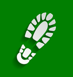 Footprint boot sign paper whitish icon vector