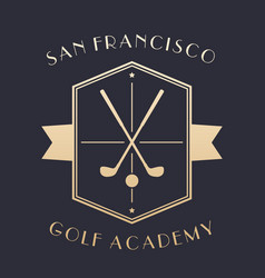 Golf academy logo emblem with clubs vector