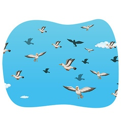 Group of seagull flying vector image