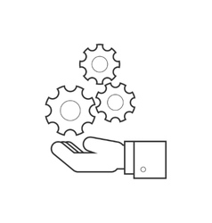 Hand holding wheels line icon vector image vector image