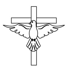 Holy spirit with cross sacred outline vector