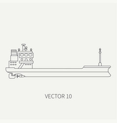 Line flat retro icon container cargo ship vector