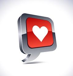 Love 3d balloon button vector