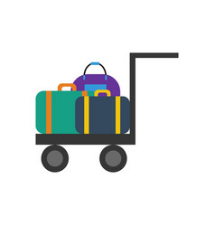 luggage trolley vector image vector image