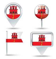 Map pins with flag of gibraltar vector