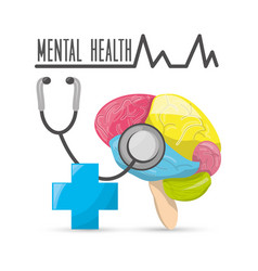 mental healthy with stethoscope and hospital vector image