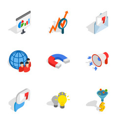 Mobile marketing icons isometric 3d style vector