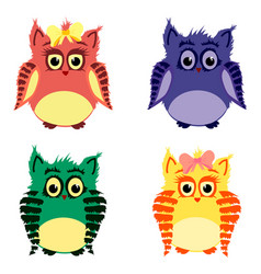 owls family vector image vector image