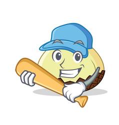 Playing baseball snake fruit character cartoon vector