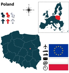 Poland and european union map vector