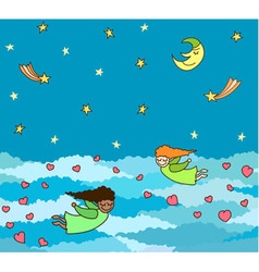postcard of flying little angels with hearts vector image