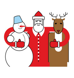 Santa snowman and reindeer christmas character vector