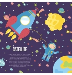Satellite conceptual cartoon web banner vector