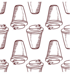 Seamless pattern with take away cups vector