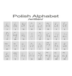 Set of monochrome icons with polish alphabet vector
