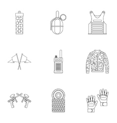 Shooting paintball icons set outline style vector