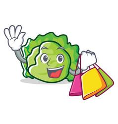 Shopping lettuce character cartoon style vector