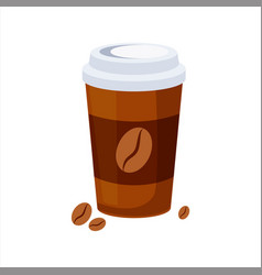 Take away coffee paper cup street fast food cafe vector