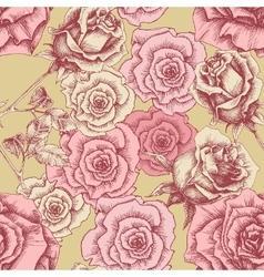 Vintage pink roses pattern Floral print vector image vector image