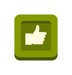 Hand up in square icon flat style vector