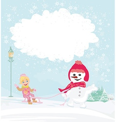 Winter girl with sled and charming snowman vector