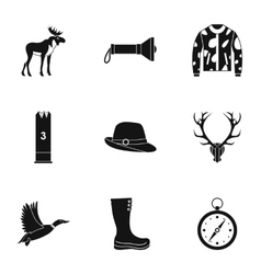 Shooting at animals icons set simple style vector