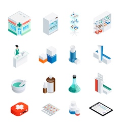 Pharmacy isometric icons set vector