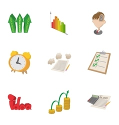 Idea business icons set cartoon style vector